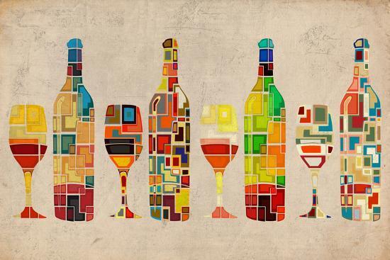 Wine Bottle and Glass Group Geometric-Lantern Press-Premium Giclee Print