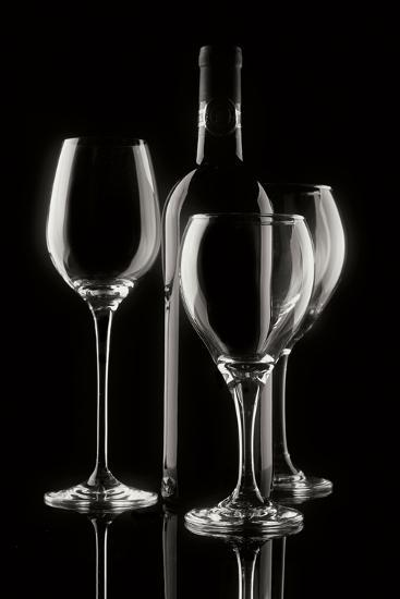 Wine Bottle and Glasses-C^ McNemar-Photographic Print