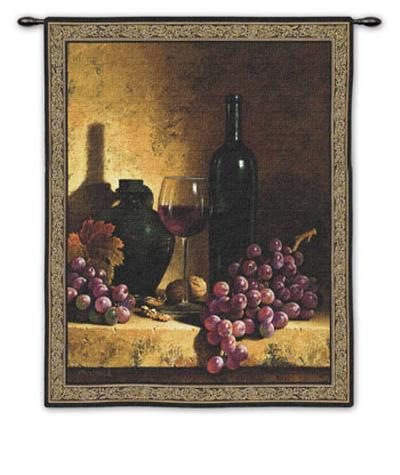 Wine Bottle with Grapes-Loran Speck-Wall Tapestry