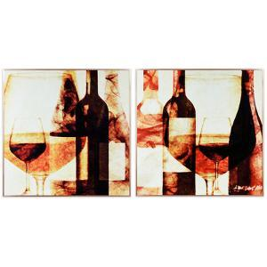 """""""Wine Bottles 1&2"""" on Reverse Printed Art Glass and Anodized Aluminum Rose Gold Frame Wall Art"""