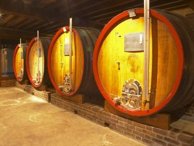 Wine Cellar and Oak Casks, Champagne Jacquesson in Dizy, Vallee De La Marne, Ardennes, France-Per Karlsson-Photographic Print