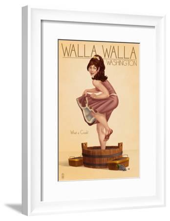 Wine Crushing Pinup Girl - Walla Walla, Washington-Lantern Press-Framed Art Print