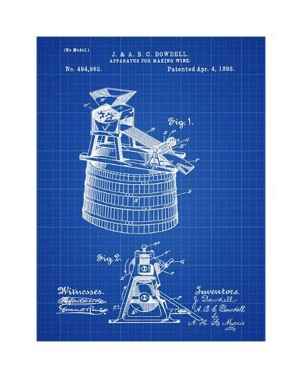 Wine Making 1893 Blueprint-Bill Cannon-Giclee Print