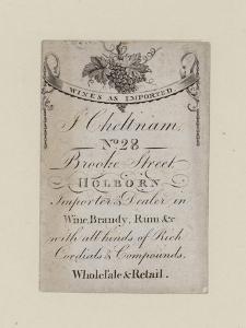 Wine Mercants, J Cheltnam, Trade Card