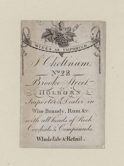 Wine Mercants, J Cheltnam, Trade Card--Giclee Print