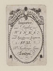 Wine Merchants, Joseph Allicocke, Trade Card