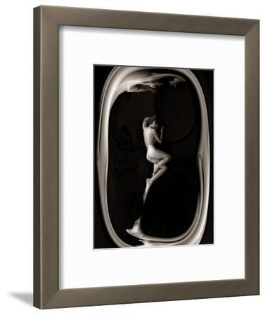 Female Nude Sleeping on Black Background in Oval Frame