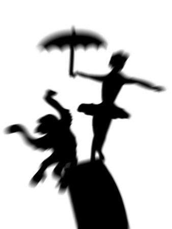 Silhouette of Ballerina Holding Umbrella with Performing Monkey