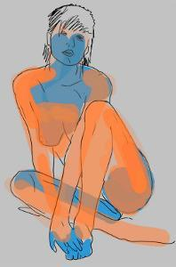 Woman Relaxes in Pin-Up Pose by Winfred Evers