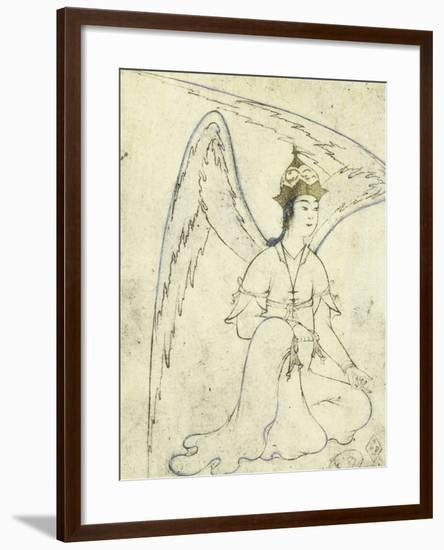 Winged Spirit, Pen and Brush Drawing on Silk, 16th Century, Herat School, Afghanistan--Framed Giclee Print