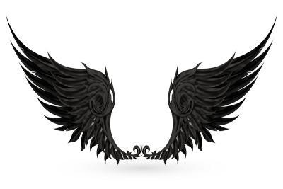 Wings Black, Eps10-Nataliia Natykach-Art Print