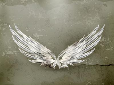 Wings White Old-Style Vector-Nataliia Natykach-Art Print