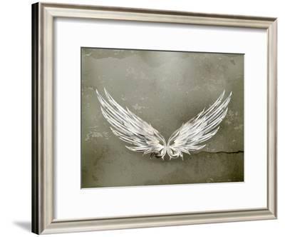 Wings White Old-Style Vector-Nataliia Natykach-Framed Art Print