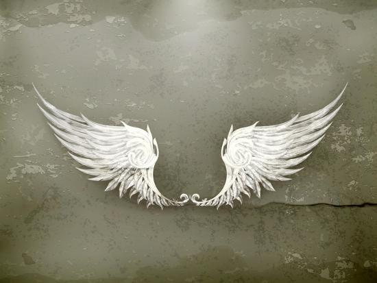Wings White, Old-Style Vector-Nataliia Natykach-Art Print