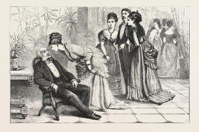 Winning the Gloves. 1876, Man, Ladies, Interior, Sleeping, Gathering--Giclee Print