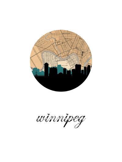 Winnipeg Map Skyline--Art Print