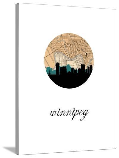 Winnipeg Map Skyline-Paperfinch 0-Stretched Canvas Print