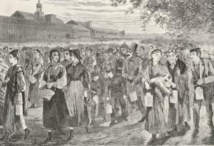 New England Factory Workers Leaving Their Workplace at Bell-Time by Winslow Homer
