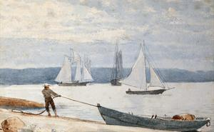 Pulling the Dory by Winslow Homer