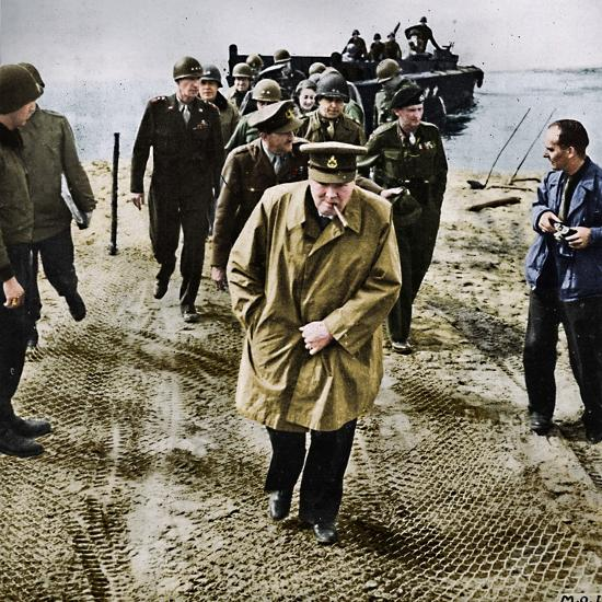 'Winston Churchill across the Rhine. Outwards into Germany! Onwards to Victory!', 1945-Unknown-Photographic Print