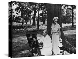 Winston Churchill and His Wife Relaxing Outdoors at their Home Chartwell