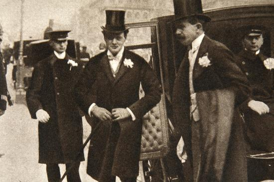 Winston Churchill arriving at the doors of St Margaret's, Westminster, on his wedding day, 1908-Unknown-Photographic Print