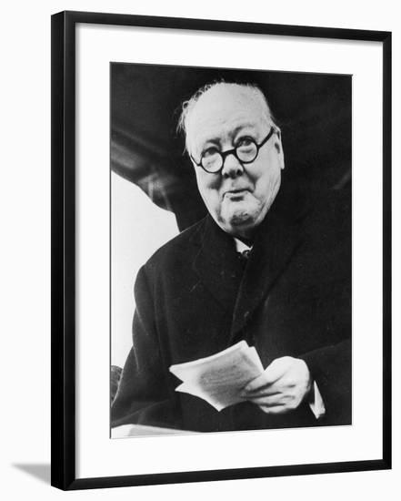 Winston Churchill British Prime Minister in Later Life Reading a Letter--Framed Photographic Print