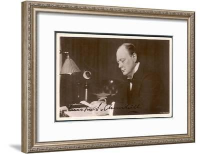 Winston Churchill British Statesman and Author Reading Correspondence at His Desk in 1933--Framed Giclee Print