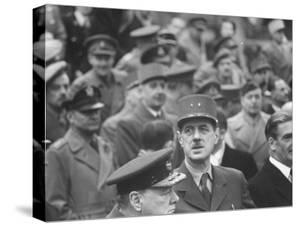 Winston Churchill, General Charles De Gaulle and Anthony Eden Attending Armistice Day Celebrations