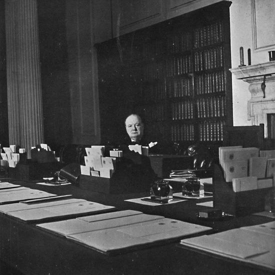 Winston Churchill in the Cabinet Room of 10 Downing Street', c1940s, (1945)-Unknown-Photographic Print