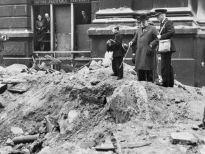 Winston Churchill Inspecting a Bomb Crater in London, 10th September 1940