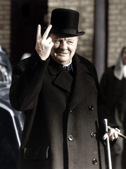 2c20e57af1285 Winston Churchill Making His Famous V for Victory Sign
