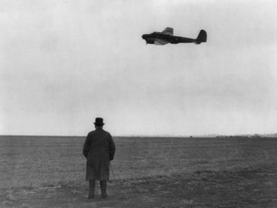 Winston Churchill, Photographed from Behind, Watching B-17 'Flying Fortress' in Flight, July 1940