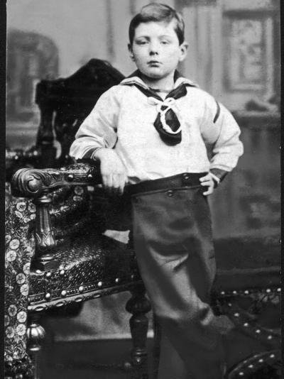 Winston Churchill Pictured as a Young Boy, Wearing a Sailor Suit--Photographic Print