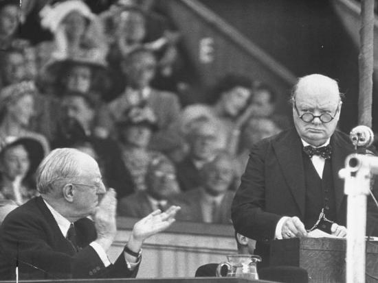 Winston Churchill Speaking at Wolverhampton Football Field--Photographic Print