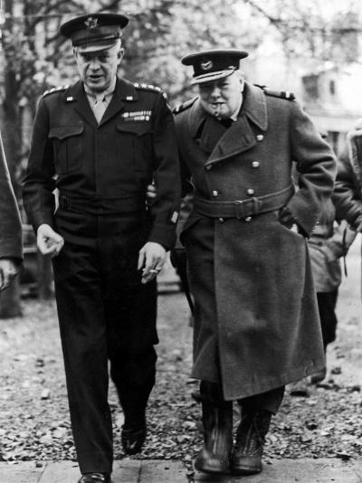 Winston Churchill Walking with General Dwight Eisenhower During Visit to France--Premium Photographic Print