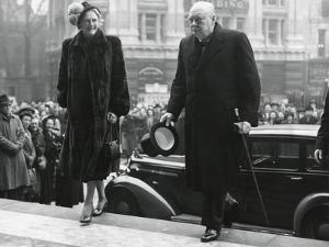 Winston Churchill, with His Wife Clementine Enter St. Paul's Cathedral