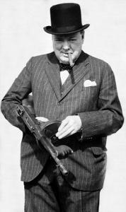 Winston Churchill with Tommy Gun