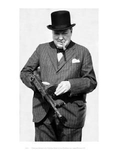 Winston Churchill with Tommy Gun