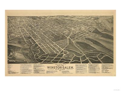 Winston-Salem, North Carolina - Panoramic Map-Lantern Press-Art Print