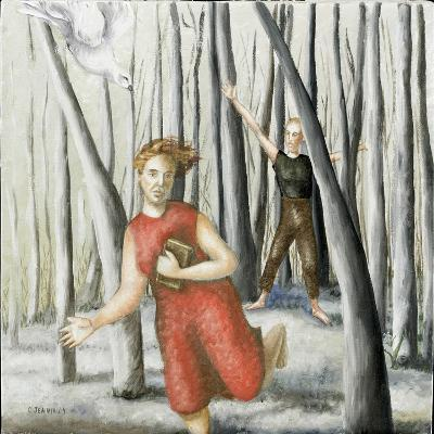 Winter Annunciation with Running Woman in Red, 2006-Caroline Jennings-Giclee Print