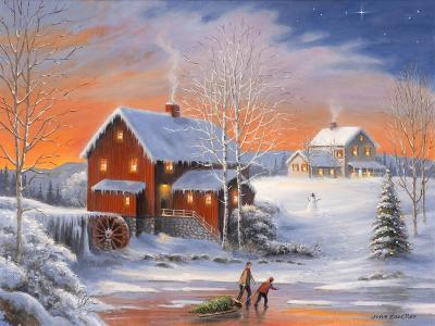 Winter at the Old Mill-John Zaccheo-Giclee Print