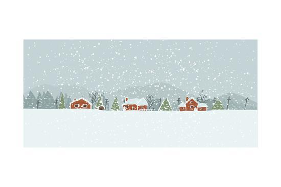 Winter Background with a Peaceful Village in a Snowy Landscape. Christmas Vector Hand Drawn Backgro-Artem Musaev-Premium Giclee Print