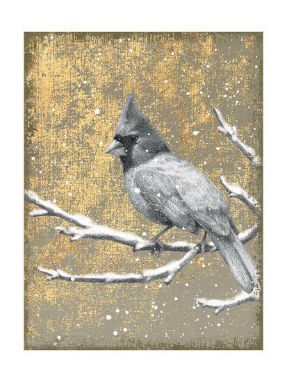 Winter Birds Cardinal Neutral-Beth Grove-Art Print