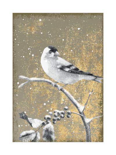 Winter Birds Goldfinch Neutral-Beth Grove-Art Print