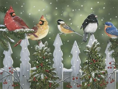 Winter Birds on a Snowy Fence-William Vanderdasson-Giclee Print