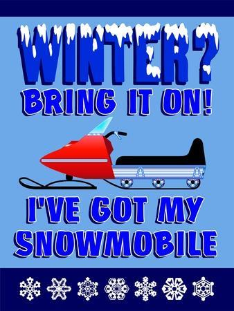 Winter Bring it Snowmobile-Mark Frost-Giclee Print