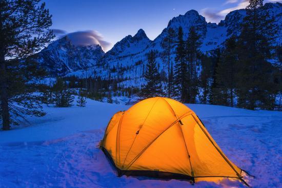 Winter camp at dusk under the Tetons, Grand Teton National Park, Wyoming, USA-Russ Bishop-Premium Photographic Print