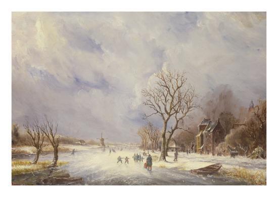 Winter Canal Scene-Jan Lynn-Giclee Print