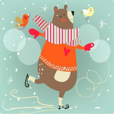 Winter Cartoon Bear-Elena Barenbaum-Art Print